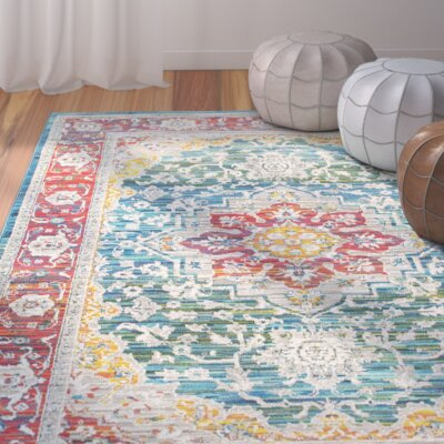 Mansi Red/Blue Area Rug Rug Size: 910 x 1210
