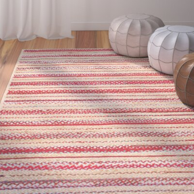 Taliyah Hand-Woven Red/Beige Area Rug Rug Size: Rectangle 76 x 96