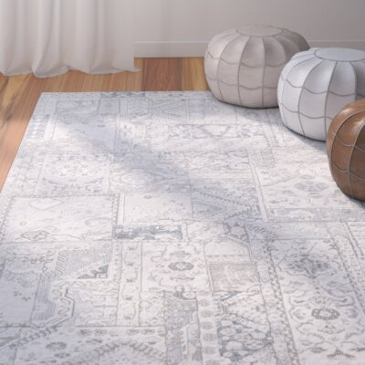 Shenk White/Gray Area Rug Rug Size: Rectangle 710 x 10