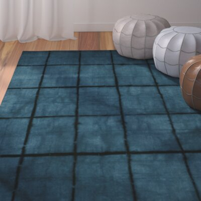 Steinsel Hand-Loomed Dark Blue Area Rug Rug size: Rectangle 33 x 53