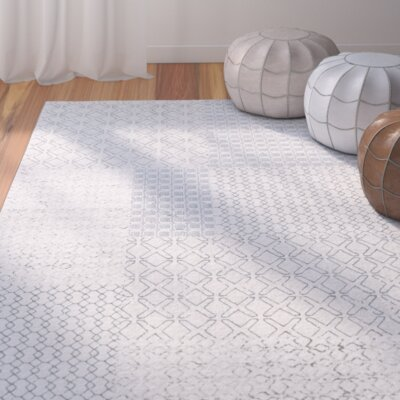 Shenk White/Gray Area Rug Rug Size: Rectangle 2' x 3'