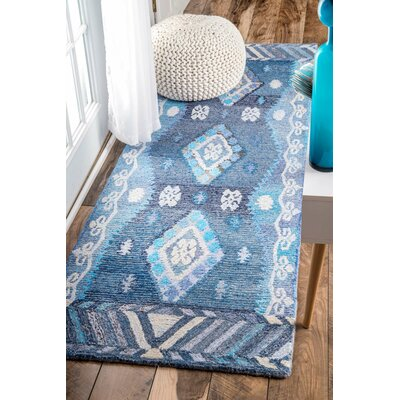Bhakta Hand-Tufted Blue Area Rug Rug Size: Runner 26 x 8