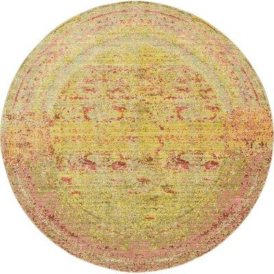 Rune Yellow Area Rug Rug Size: Round 6