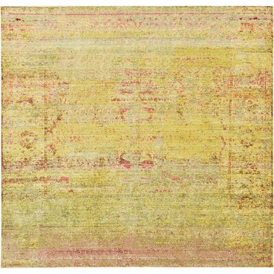 Rune Yellow Area Rug Rug Size: Square 8