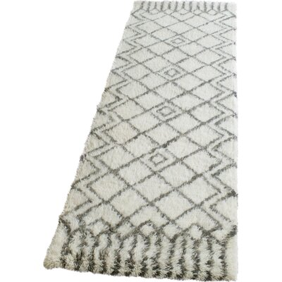 Cosima Hand-Tufted Ivory/Gray Area Rug Rug Size: Runner 23 x 8