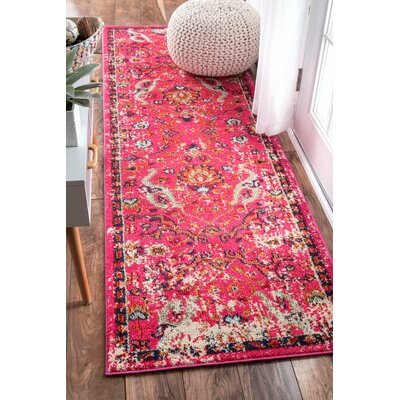 Cher Pink Area Rug Rug Size: Runner 26 x 8