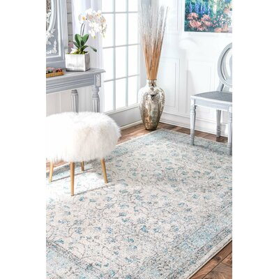 Navarrete Ivory & Cream/Blue Area Rug Rug Size: Rectangle 8 X 10