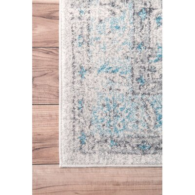 Navarrete Ivory & Cream/Blue Area Rug Rug Size: Rectangle 67 x 9