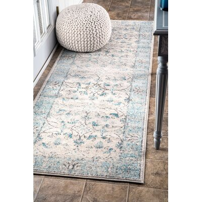 Pittwater Aqua Area Rug Rug Size: Runner 28 x 8