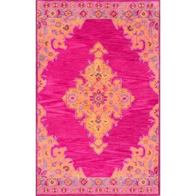 Isai Hand-Tufted Pink Area Rug Rug Size: 4 x 6