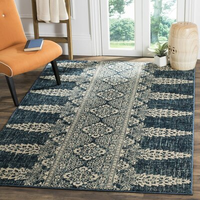 Elson Floral Royal/Ivory Area Rug Rug Size: Rectangle 4 x 6