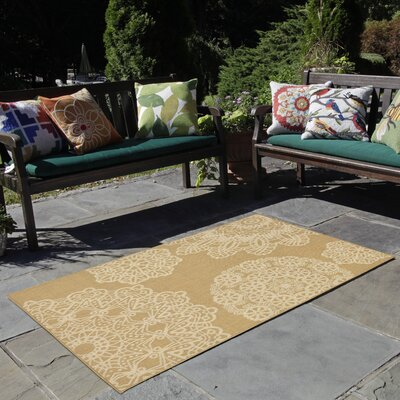 Devondra Crochet Beige/Yellow Indoor/Outdoor Area Rug Rug Size: 33 x 411