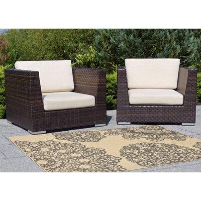 San Pe Crochet Gray/Beige Indoor/Outdoor Area Rug Rug Size: Runner 111 x 76
