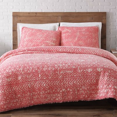 Lobardy Quilt Set Size: King, Color: Coral