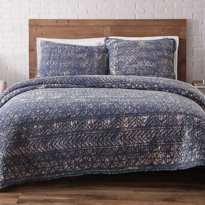 Lobardy Quilt Set Size: King, Color: Indigo Blue