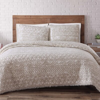 Lobardy Quilt Set Size: King, Color: White Sand