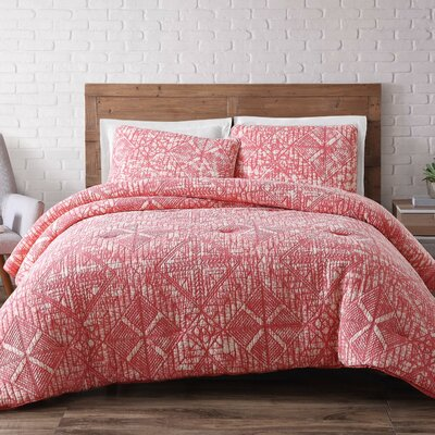 Nichole Comforter Set Size: King, Color: Coral