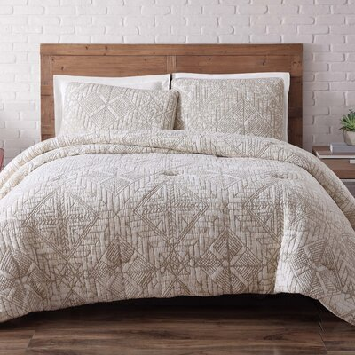 Nichole Comforter Set Size: King, Color: White Sand