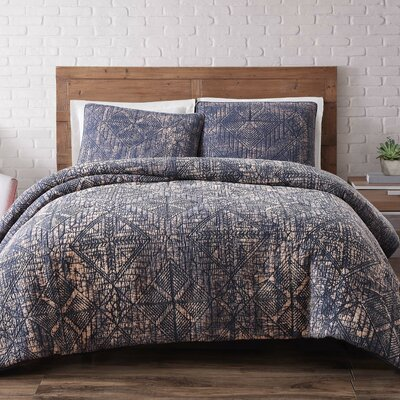 Mira Monte Duvet Set Size: Full/Queen, Color: Indigo Blue