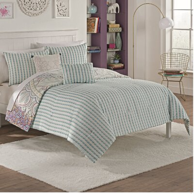 Charonneau 5 Piece Reversible Comforter Set Size: King