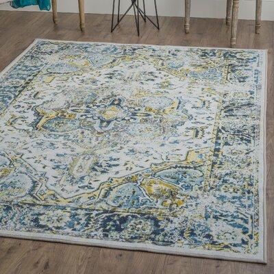 Tariq White/Blue Area Rug Rug Size: 710 x 103