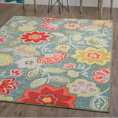 Tariq Light Blue/Red Area Rug Rug Size: 53 x 73