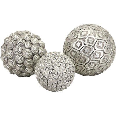 3 Piece Decorative Orb Set Color: Silver