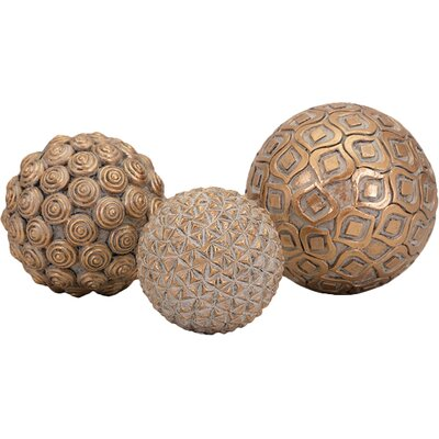 3 Piece Decorative Orb Set Color: Gold