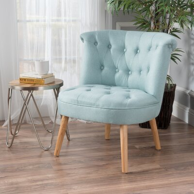 Leudelange Claudia Tufted Slipper Chair Upholstery: Light Blue