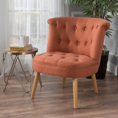 Leudelange Claudia Tufted Slipper Chair Upholstery: Orange