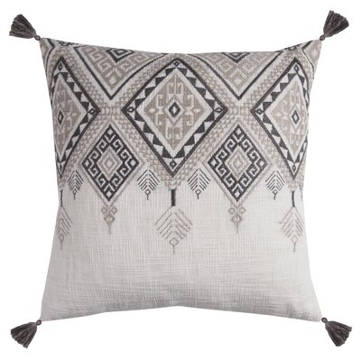 Winona Cotton Throw Pillow Color: Ivory/Gray