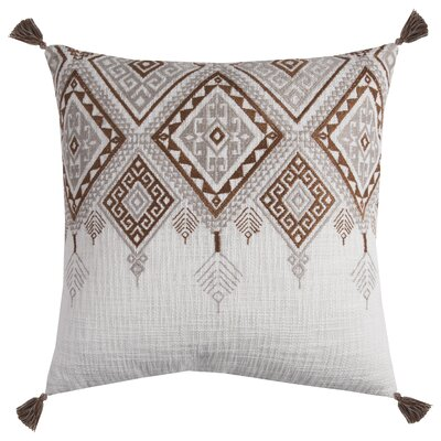 Eleta Cotton Throw Pillow Color: Ivory/Brown