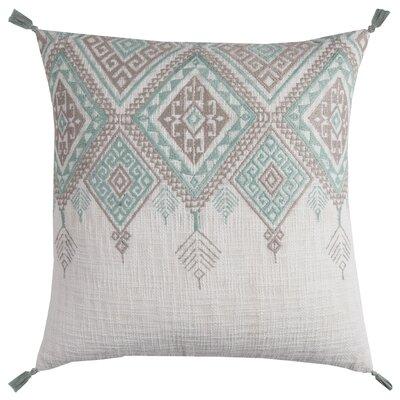 Eleta Cotton Throw Pillow Color: Ivory/Aqua