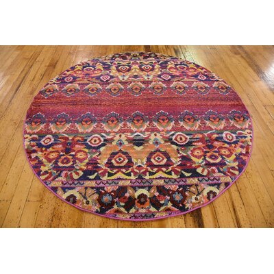 Rialto Red Area Rug Rug Size: Round 6'