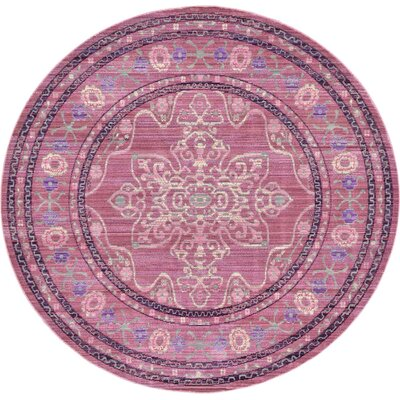 Bradford Pink Area Rug Rug Size: Round 6