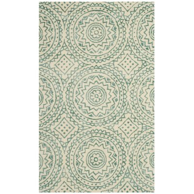 Amwell Hand-Tufted Beige/Green Area Rug Rug Size: 5 x 8