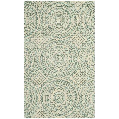 Melinda Hand-Tufted Beige/Green Area Rug Rug Size: Square 5