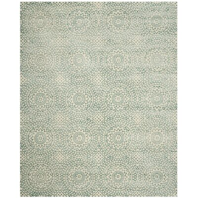 Melinda Hand-Tufted Beige/Green Area Rug Rug Size: Rectangle 4 x 6