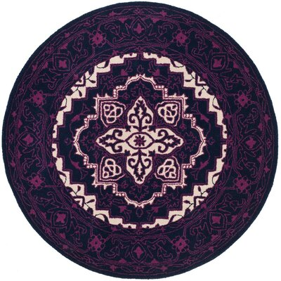 Io Hand-Tufted Purple Area Rug Rug Size: Round 5'
