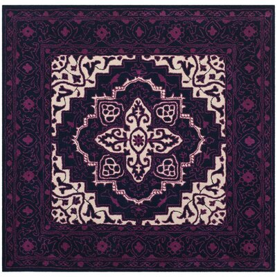 Io Hand-Tufted Purple Area Rug Rug Size: Square 5