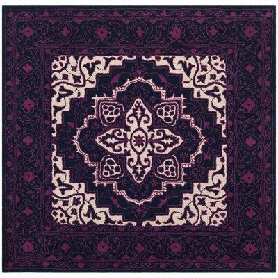 Io Hand-Tufted Purple Area Rug Rug Size: Square 5