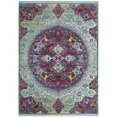 Mellie Purple/Green/Beige Area Rug Rug Size: Square 6