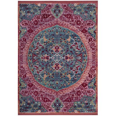 Mellie Blue/Red/Pink Area Rug Rug Size: 5 x 7