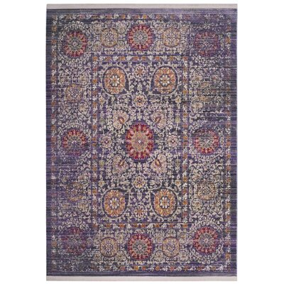 Mellie Beige/Purple Area Rug Rug Size: Square 6