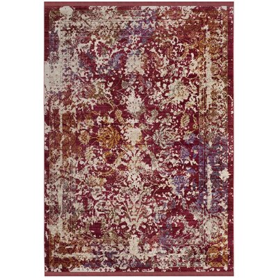Mellie Red/Beige Area Rug Rug Size: Square 6