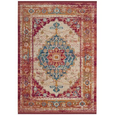 Aquashicola Red/Blue/Beige Area Rug Rug Size: 5 x 7