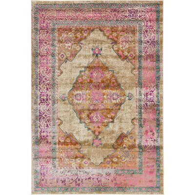 Klingle Beige Area Rug Rug Size: 6 x 9