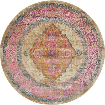 Klingle Beige Area Rug Rug Size: Round 6