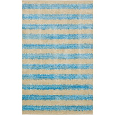 Travis Traditional Blue/Beige Area Rug Rug Size: 5 x 8