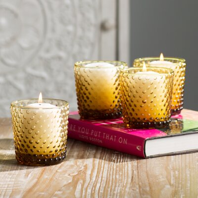 Cassandra 4 Piece Glass Votive Set Color: Amber